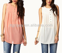 Flowy Buttoned Tunic Casual Top& Blouse for Elegant Ladies
