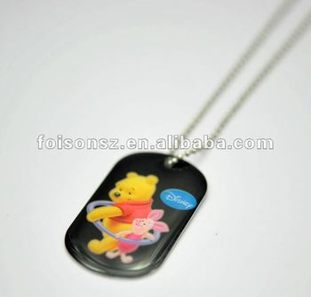 printed dog tag resin charm necklace
