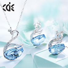 CDE 2017 jewelry factory bulk wholesale crystals from Swarovski different color swan earrings necklace pendant set