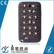 Cheap TPU Leather Clinch Phone Cover Case For Samsung Note2,High-Quality Rivet Shell Accept ODM/OEM Low MOQ