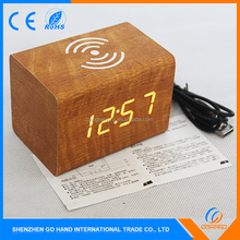 Promotion Multifunction Decorative Desk Wood Clock With Wireless Phone Charger
