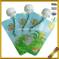 BPA free 6 oz reusable spout tap baby food pouch packaging for liquid