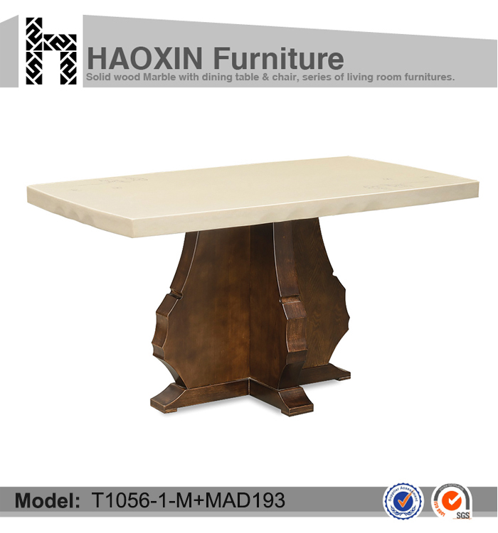 MDF furniture marble dining table, wood base