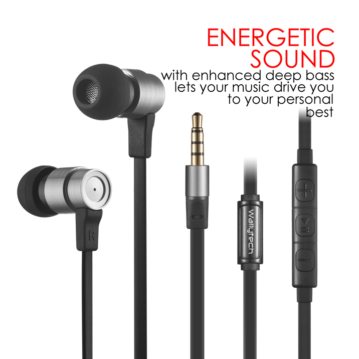 Wallytech Smart Steel W805 High Performance In-Ear headphone with Built-In Microphone for Apple iOS For Samsung Android Devices.