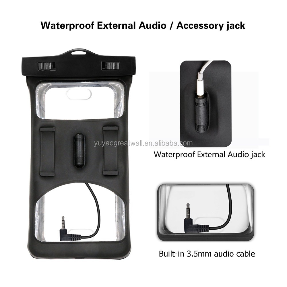 2017 Upgraded Design Waterproof Floating Mobile Phone Case Strap With Armband and Audio Jack