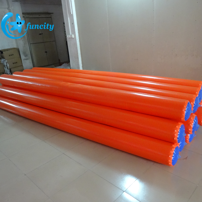 0.6mm PVC Tarpaulin yellow inflatable buoys water park inflatable floating tube for sale