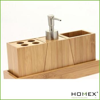 Fine 3 piece suit bamboo bathroom accessory set homex for Bathroom 3 piece suite