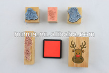 mini wooden stamp set with Christmas designs