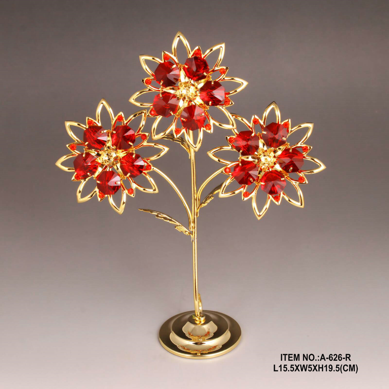 High End Gold Plated Metal Red Flower with crystals