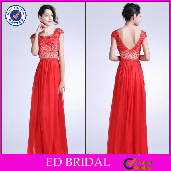 2014 New Fashion Style A-line Cap Sleeve Appliques Ankle-length Open Back Faction Evening Dresses ED-YH331