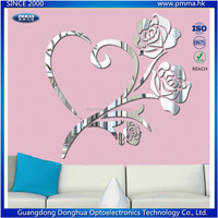 3D wall mirror sticker rose shape