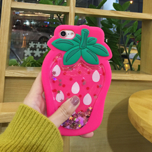 Liquid Floating Lovely Young Lady Gel Rubber Cartoon Strawberry Cell Phone Back Case Covers for Apple7 8 for iPhone 7 8 plus
