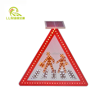 Yellow Triangle Solar Pedestrian Crossing Sign