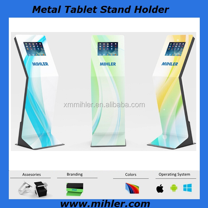 High quality secure key lock tablet floor standing kiosk for Ipad pro