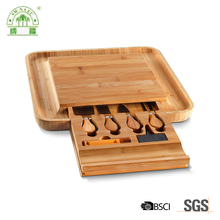 China factory 100% organic bamboo cheese board with knife set wholesale