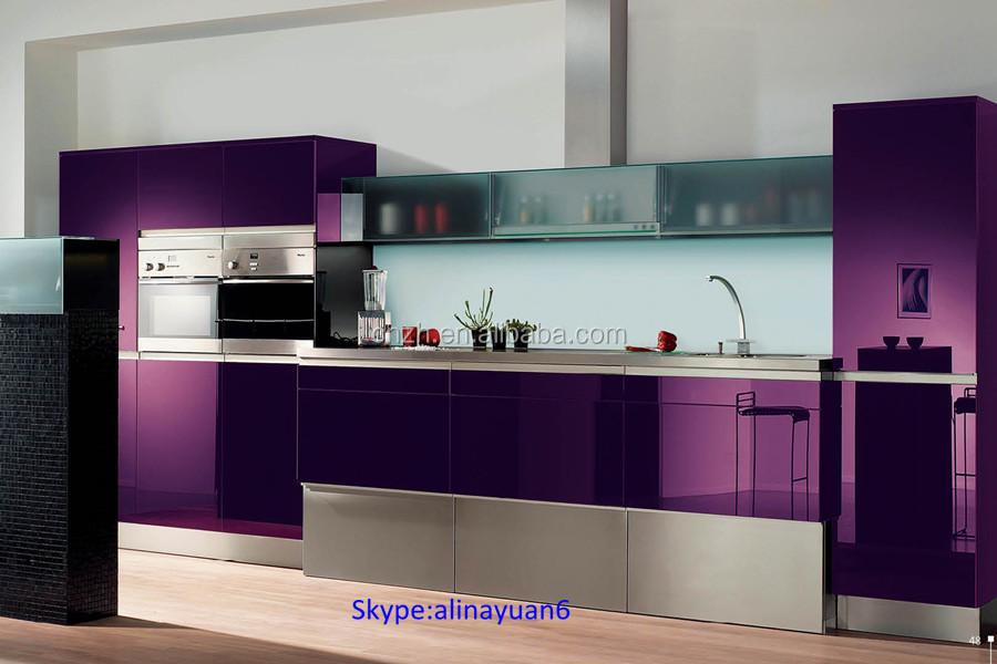 High Glossy Grey Wood Grain Kitchen Furniture Matching