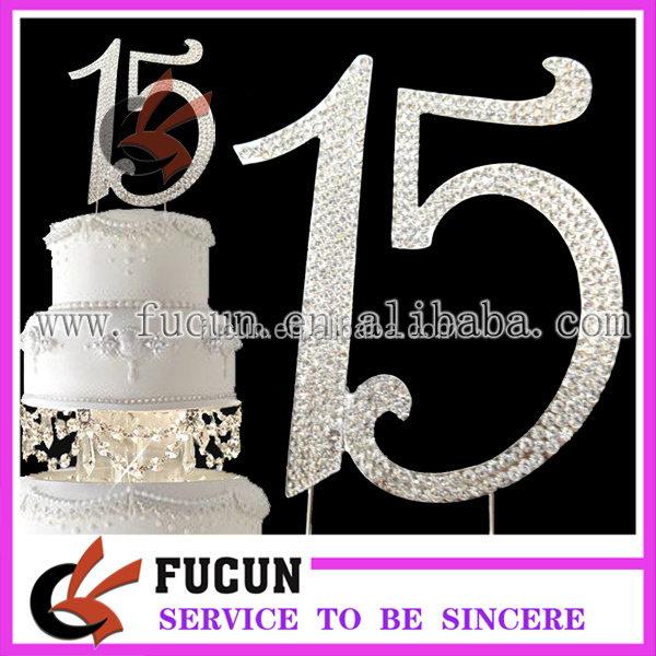 silver rhinestone number crytsal cake topper birthday party /wedding supplies wholesale china