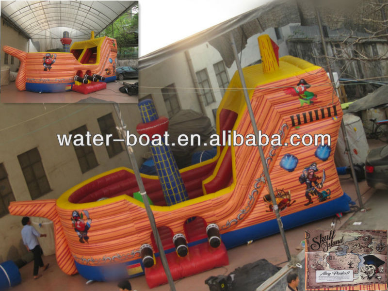 2014 hot sale giant inflatable pirate ship slide