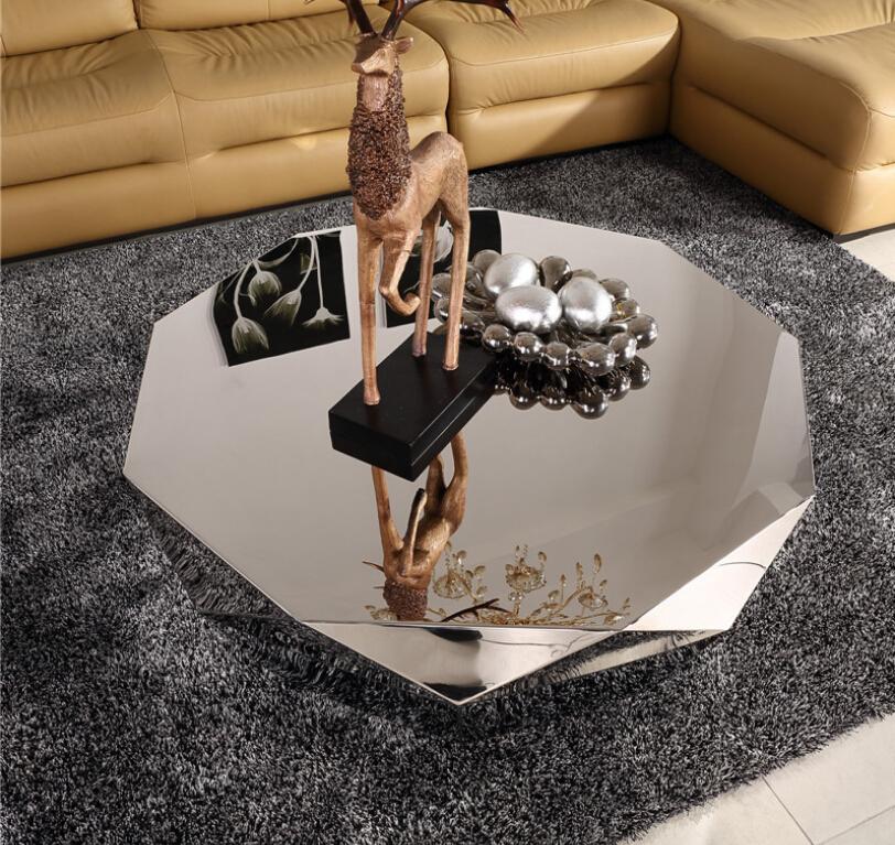 Modern Designer Large Round Coffee Table Glass Top Stainless Steel: Modern Diamond Shape Stainless Steel Coffee Table For