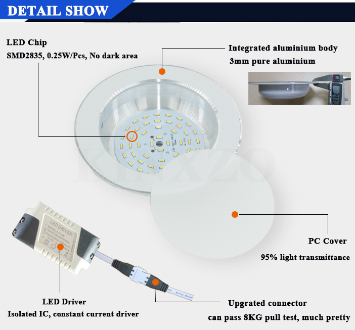 Factory price warm white round LED 12W fire rated shop Light led recessed downlight