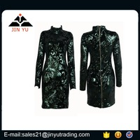 Longsleeves green turquoise sequin embellished fashion dress