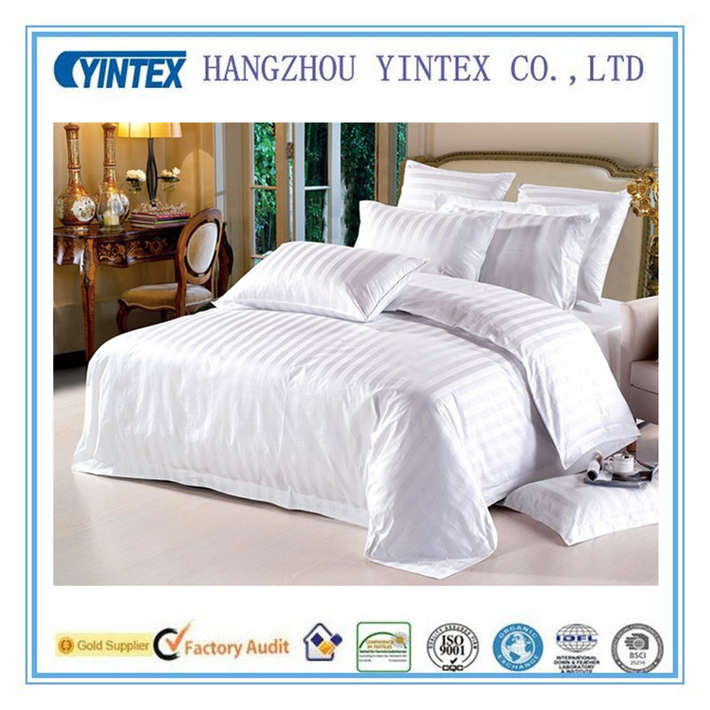 100% Cotton Hotel Strip Bedding Linen/ Hotel Bed Sheet Factory in HangZhou