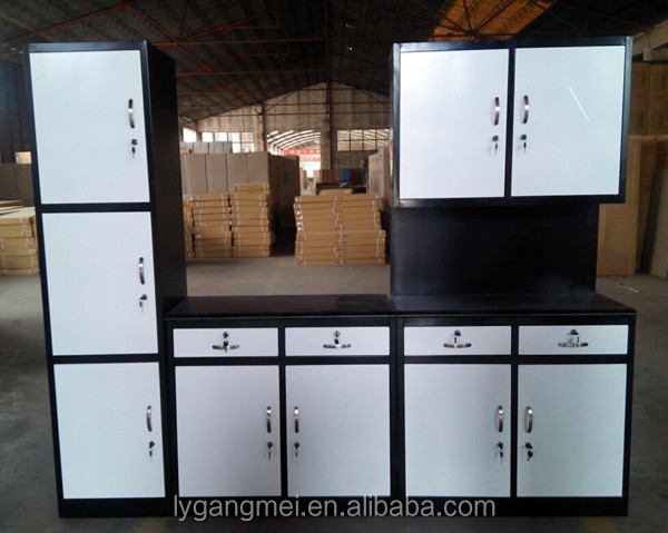 Free standing cheap steel modular storage kitchen cabinet for Cheap metal kitchen cabinets