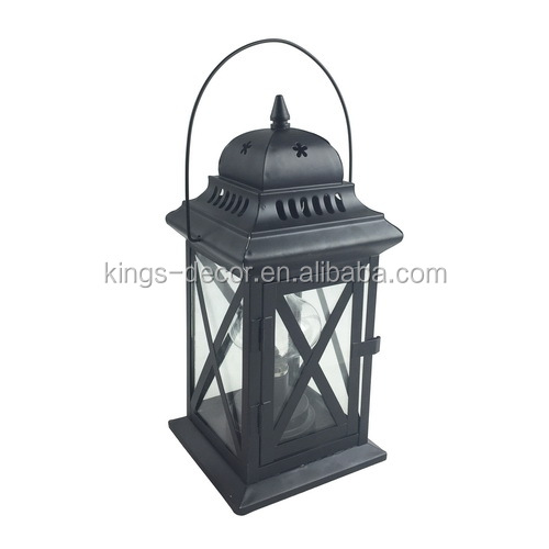 Hanging cross decor black metal candle lantern with star decor