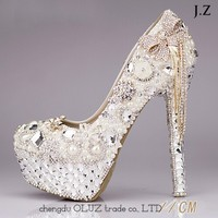 OW20 Luxury Handmade Women Shoes WHITE Champagne Rhinestones Wedding Shoes Crystal 14cm High Heels Dress Prom Shoes