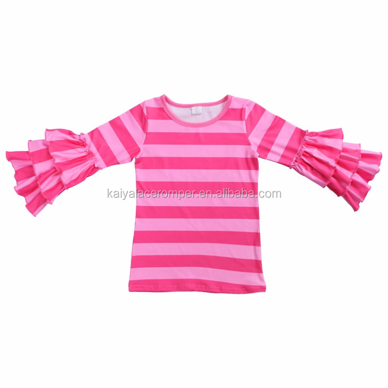 rainbow long sleeve ruffle kids wear baby clothes girl baby t shirt