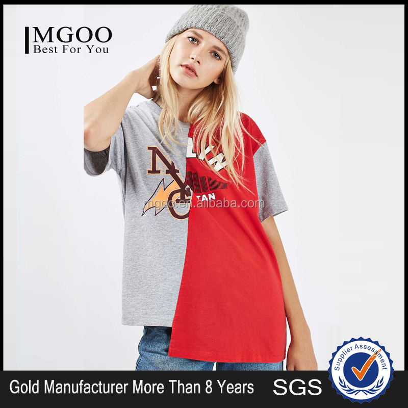 Custom Logo Spliced College Tee Shirt With An Asymmetrical Bias Fit Cool With Jeans And Laid-Back Beanie