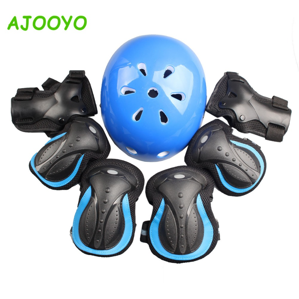 PC shell Thick EPS Breathable helmet + Safety Protection pads set