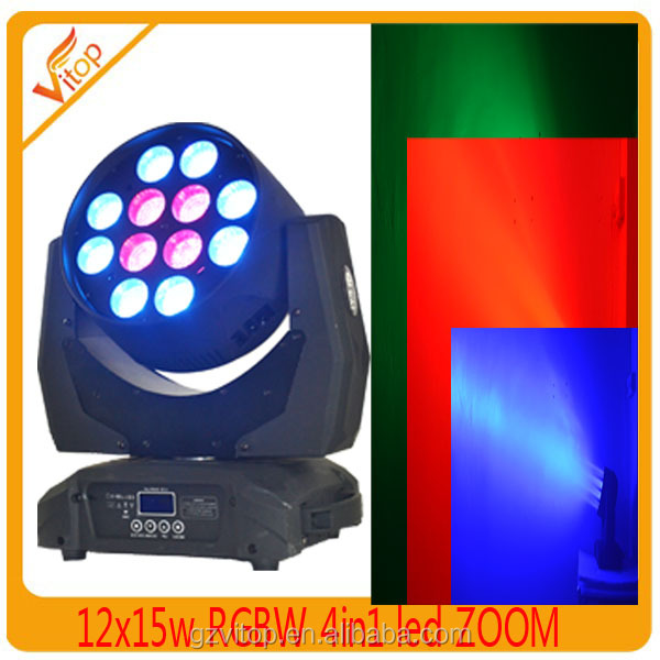 LED stage lighting wash 12pcs*15w rgbw 4in1 zoom moving head led party light with flycase