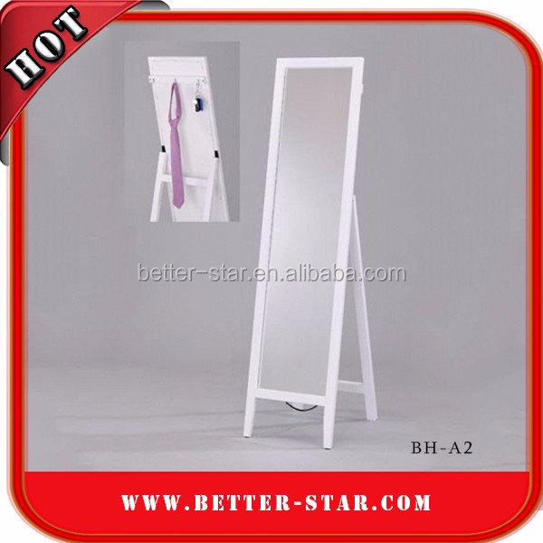 White floor standing wooden framed cheval mirror