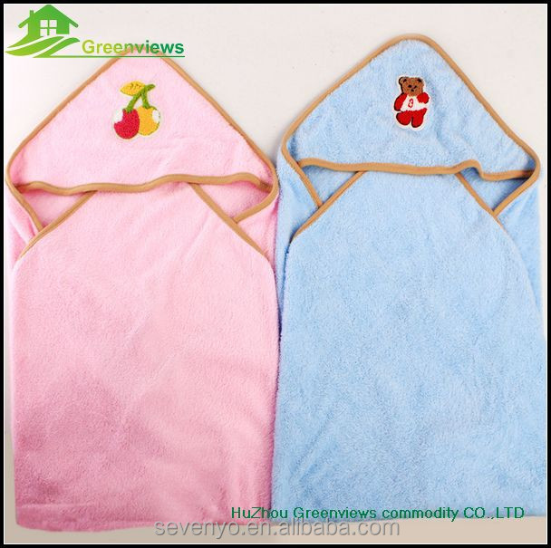 100% organic cotton 2 pack embroidered baby hooded towels