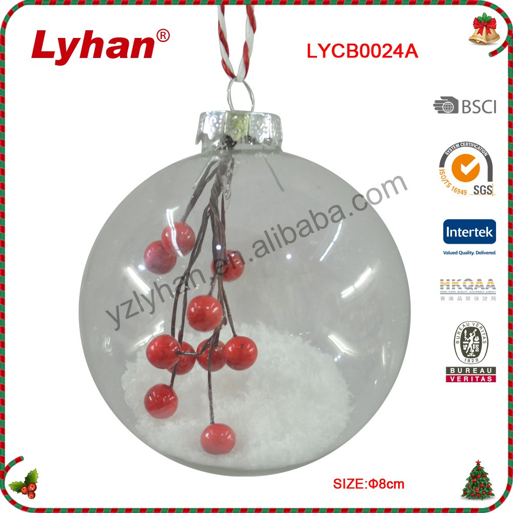 8cm clear glass ball with Christmas crabapple for Christmas tree decoration