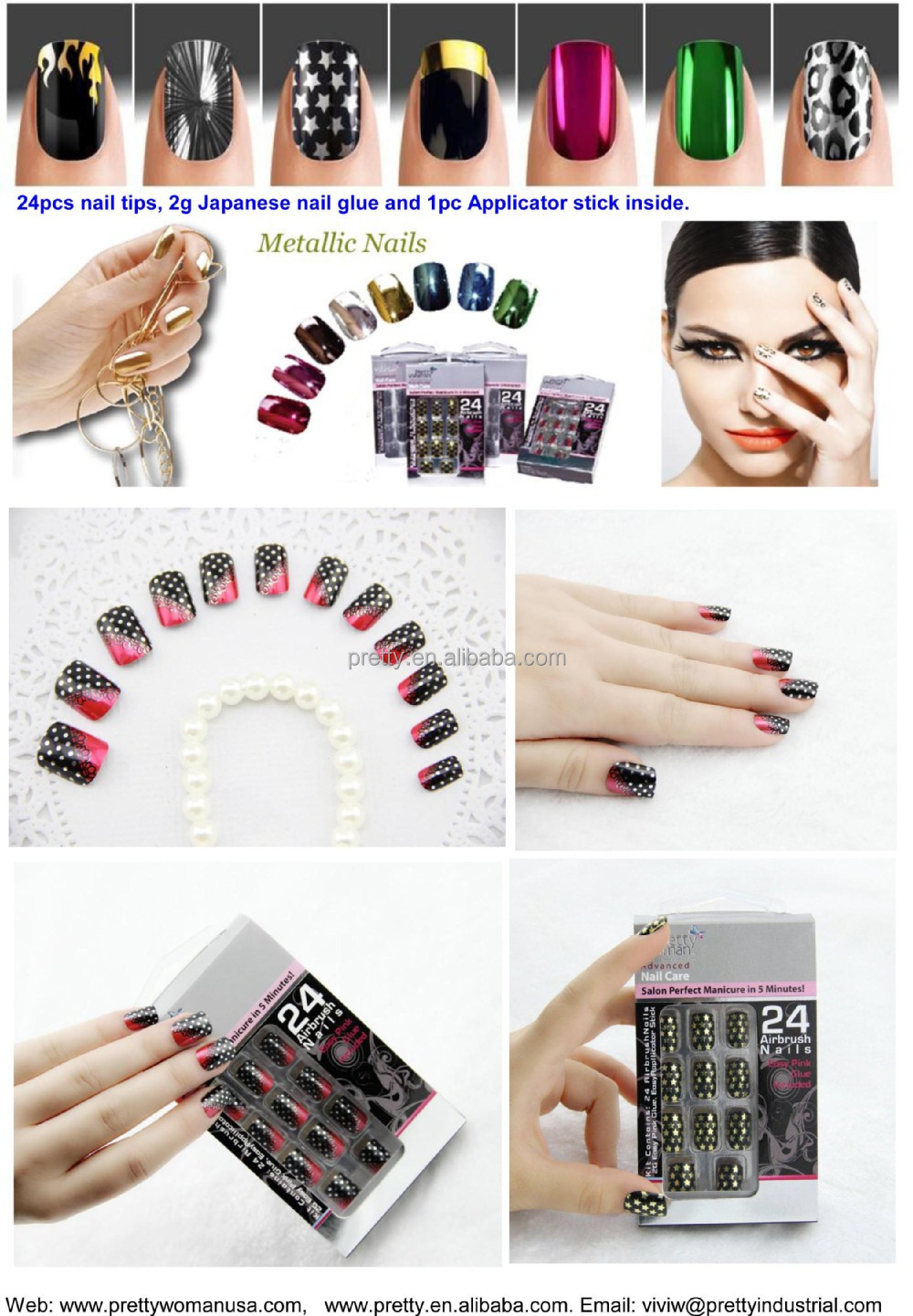 Kaleidoscope runway nail art 2015 spring and summer collection 24PCS full cover metallic nail tips