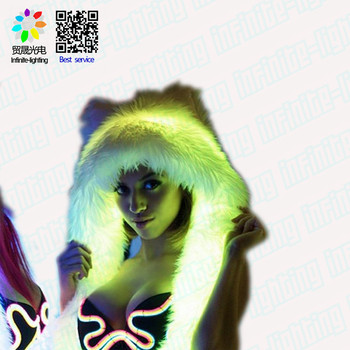 LED Playaborn HaloHood - Lightup Festival Wear, Burning Man, Headdress, Fantasy, Cosplay, Rave