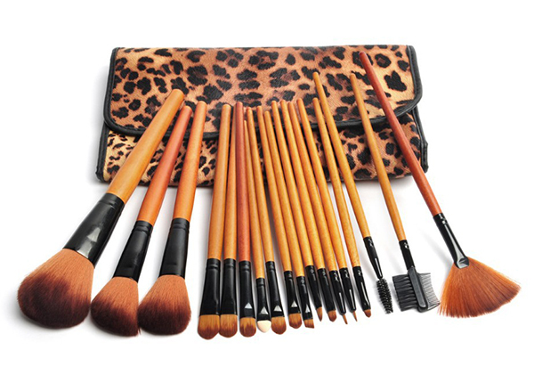 18pcs Leopard Professional cheap makeup brushes