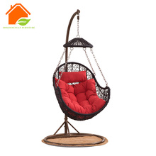 wicker hanging chair with frame support