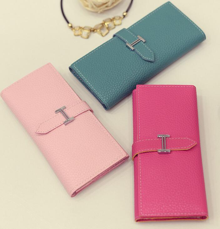 wholesale colorful woman wallet, PU slim wallet for lady