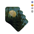 Full Moon in A Cemetary Halloween Decoration Resin Cup Coaster