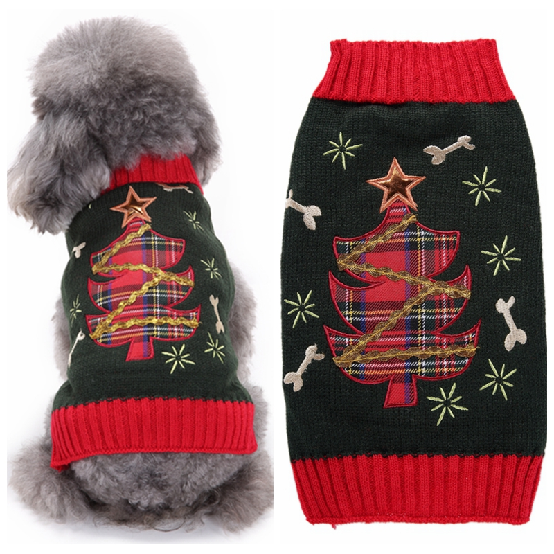 High Quality Grey Christmas Tree Dog Sweaters for Large Dogs Warm Coat Puppy Apparel Jumper Knitwear