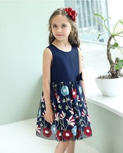 top quality latest fashion dress designs embroidery fancy flower frock dress for girls