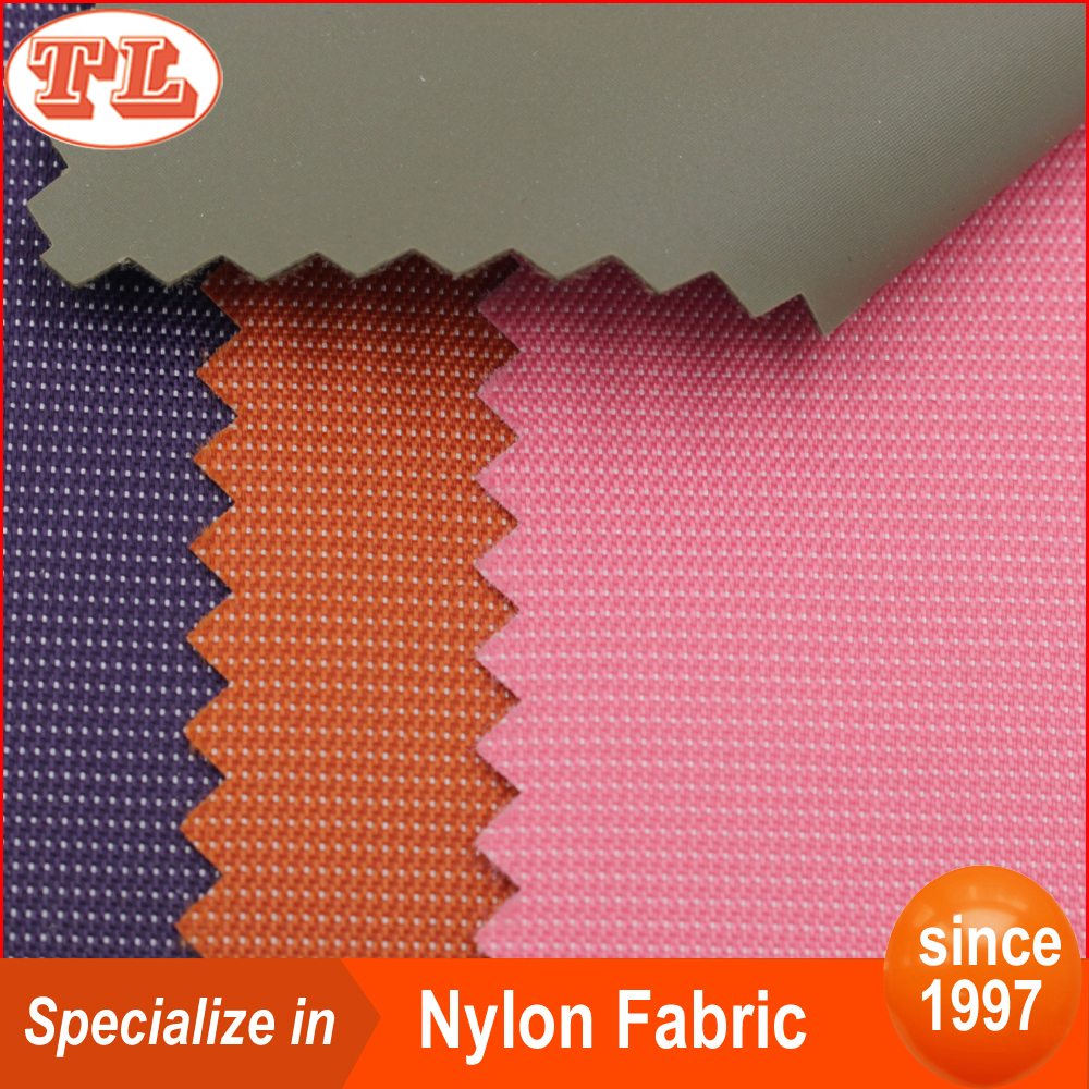 210D white dot nylon lining fabric with PU coated cover for wallet