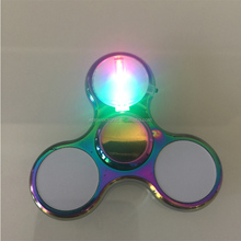 2017 New Design Relieve Stress Fidget Toys LED Glowing Metal Hand fidget Spinner with 18 different Patterns