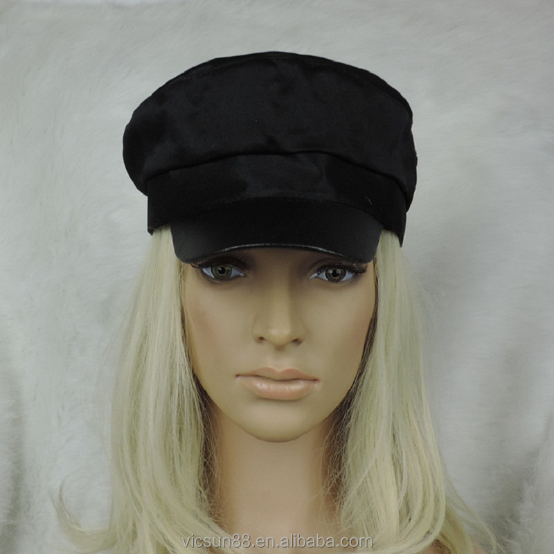 pure black flat top army cap leisure knit trending hat