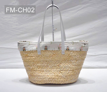 Promotional custom eco friendly women corn husk woven straw tote summer beach shoulder bag with leather handle