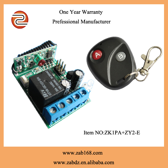 DC 12v 1 ch RF wireless remote control switch 1 pics receiver +1 pics transmitter With 2 buttons A for ON and B for OFF