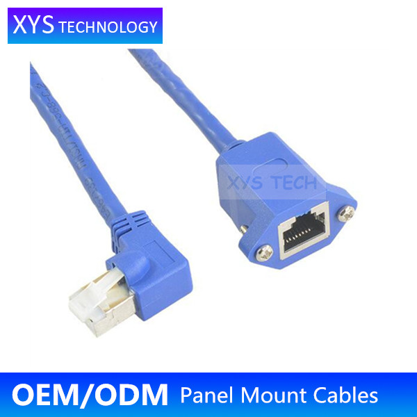 XYS TECH Right Angle RJ45 male to RJ45 female Lan Network Panel Mount Cable/